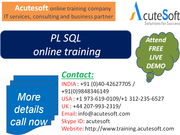 PL SQL Online Training by AcuteSoft with 10+ years SMEs.