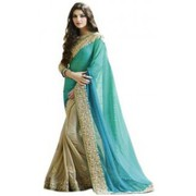 Self Design Bollywood Chiffon Sari(Beige)