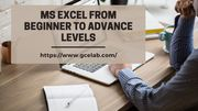 Learn MS Excel from Beginner to advance Levels