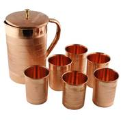 Copper Utensils,  Copper Jug Pitcher With 6 Copper Glasses Set